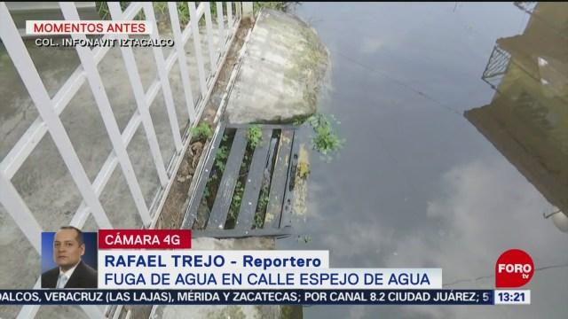 FOTO: Se registra fuga de agua en alcaldía Iztacalco, 5 octubre 2019