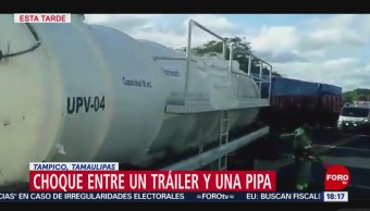 FOTO: choque entre tráiler pipa agua Tampico