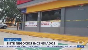 Suman siete negocios incendiados en Coatzacoalcos, Veracruz