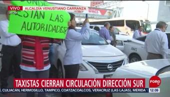 Taxistas bloquean accesos a la Terminal 1 del Aeropuerto Internacional de la CDMX