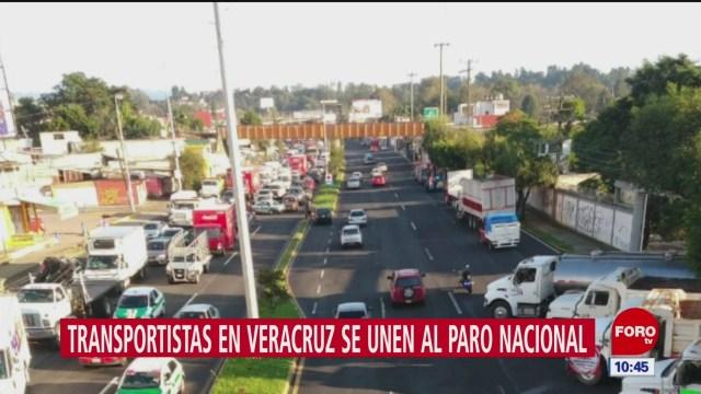 Transportistas de Veracruz se unen a paro nacional