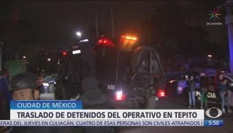 Traslado de detenidos del operativo en Tepito