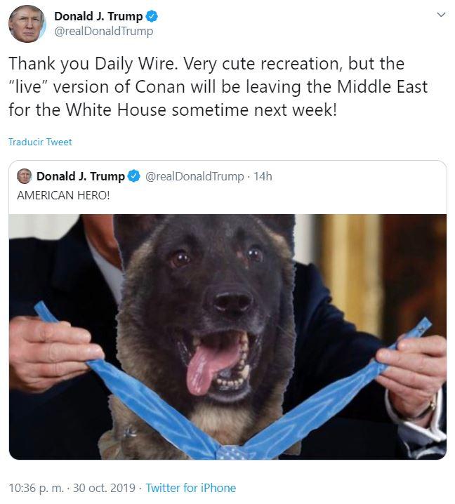 FOTO Trump recibirá en la Casa Blanca a Conan, el perro que acabó con Al-Baghdadi. (@realDonaldTrump)
