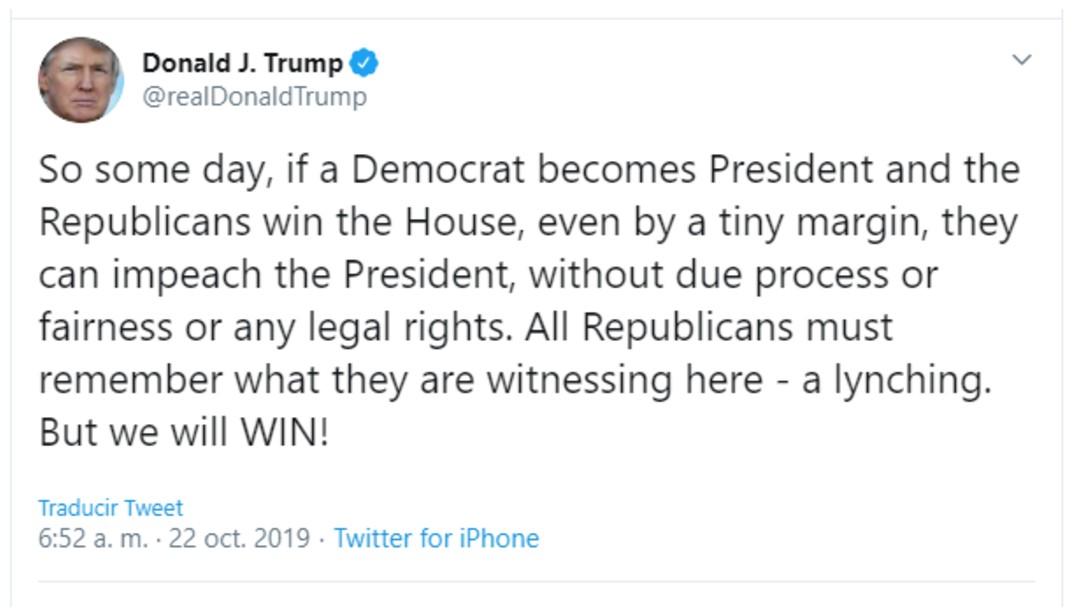 Foto: Trump dice que juicio en su contra es linchamiento, 22 de octubre de 2019, Estados Unidos