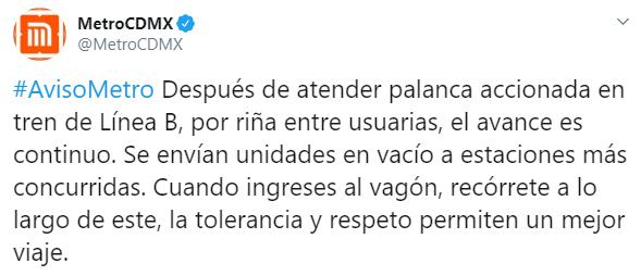 IMAGEN Se registró riña entre usuarias en Línea B del Metro CDMX (Twitter)