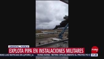 FOTO: pipa cargada diésel explotó Puebla