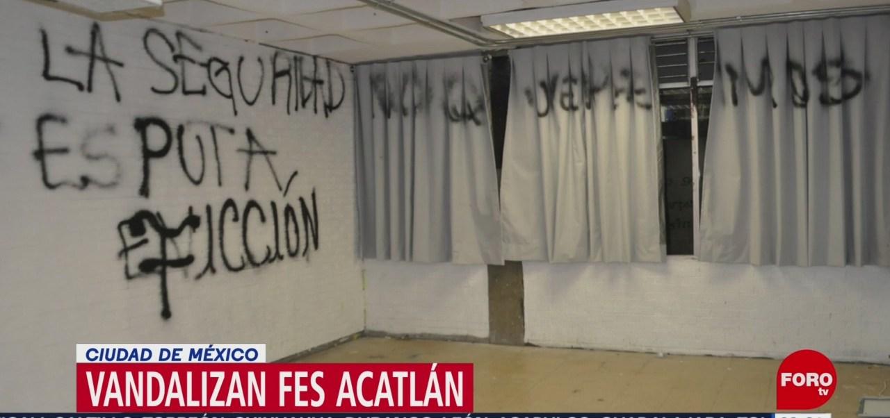 FOTO:Vandalizan instalaciones de la FES Acatlán, UNAM, 5 octubre 2019