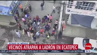 Foto: Vecinos Ecatepec Golpean Asaltante Transporte Público 31 Octubre 2019