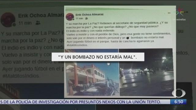 Yerno de alcalde arrastrado propone bomba contra indígenas