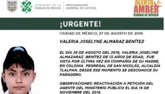 Foto: Activan Alerta Amber para localizar a Valeria Joselyne Almaraz Benítez, 20 de noviembre de 2019 (Twitter @PGJDF_CDMX)