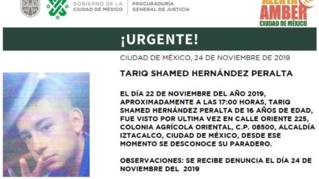 Foto: Activan Alerta Amber para localizar a Tariq Shamed Hernández Peralta, 26 de noviembre de 2019 (Twitter @PGJDF_CDMX)