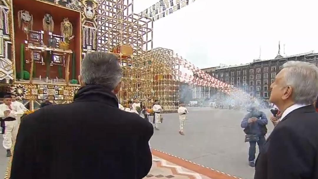 FOTO Altar del norte, tapanco yaqui, en el Altar de Altares del Zócalo CDMX (YouTube)