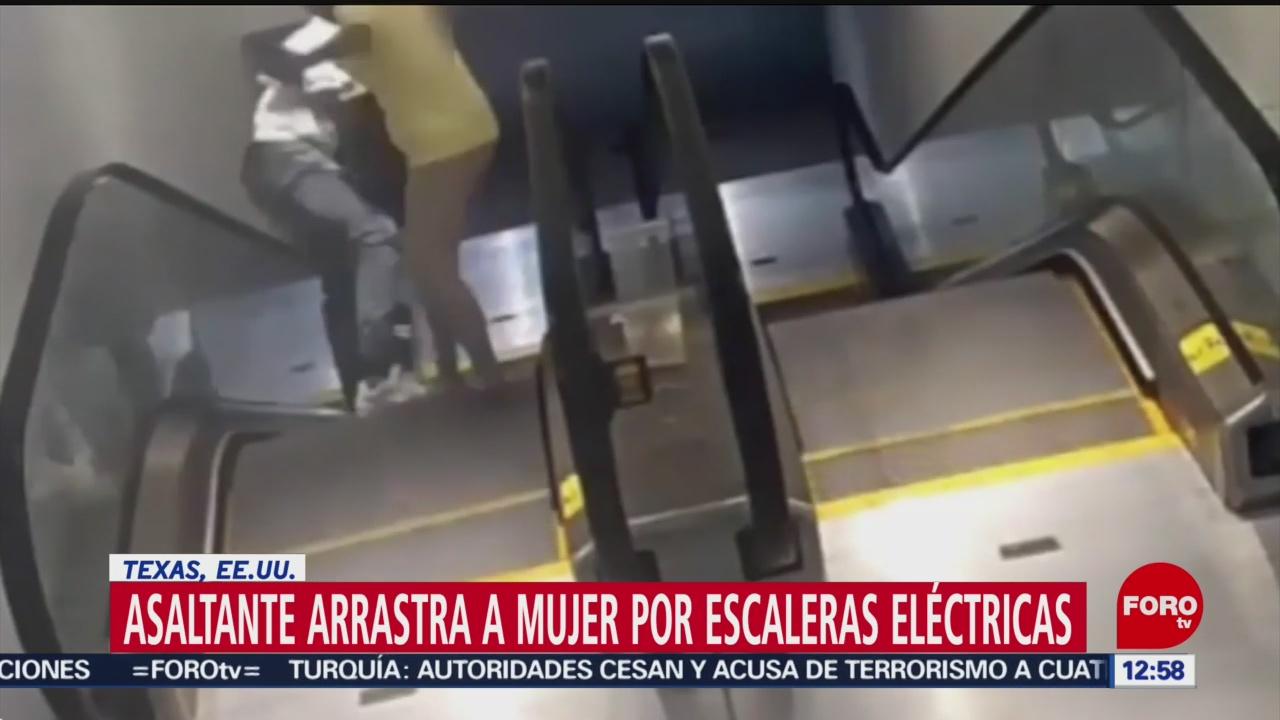 Asaltante arrastra a mujer por escaleras eléctricas