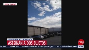 FOTO: Asesinan a dos en Cuauhtémoc, Chihuahua, 9 noviembre 2019