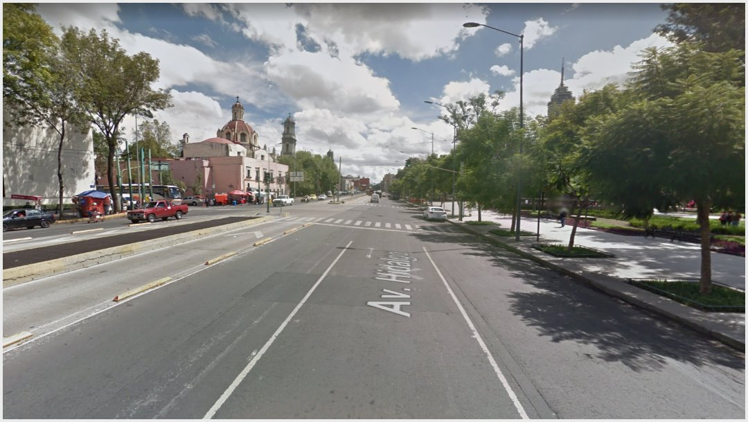 Imagen: Avenida Hidalgo dejará de ser de doble sentido, 3 de noviembre de 2019 (Google Maps)