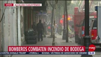 FOTO: Bomberos de la CDMX siguen combatiendo incendio en bodega del Centro, 15 noviembre 2019