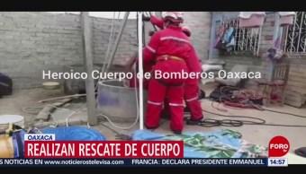 FOTO: Bomberos Oaxaca realizan rescate cadáver pozo
