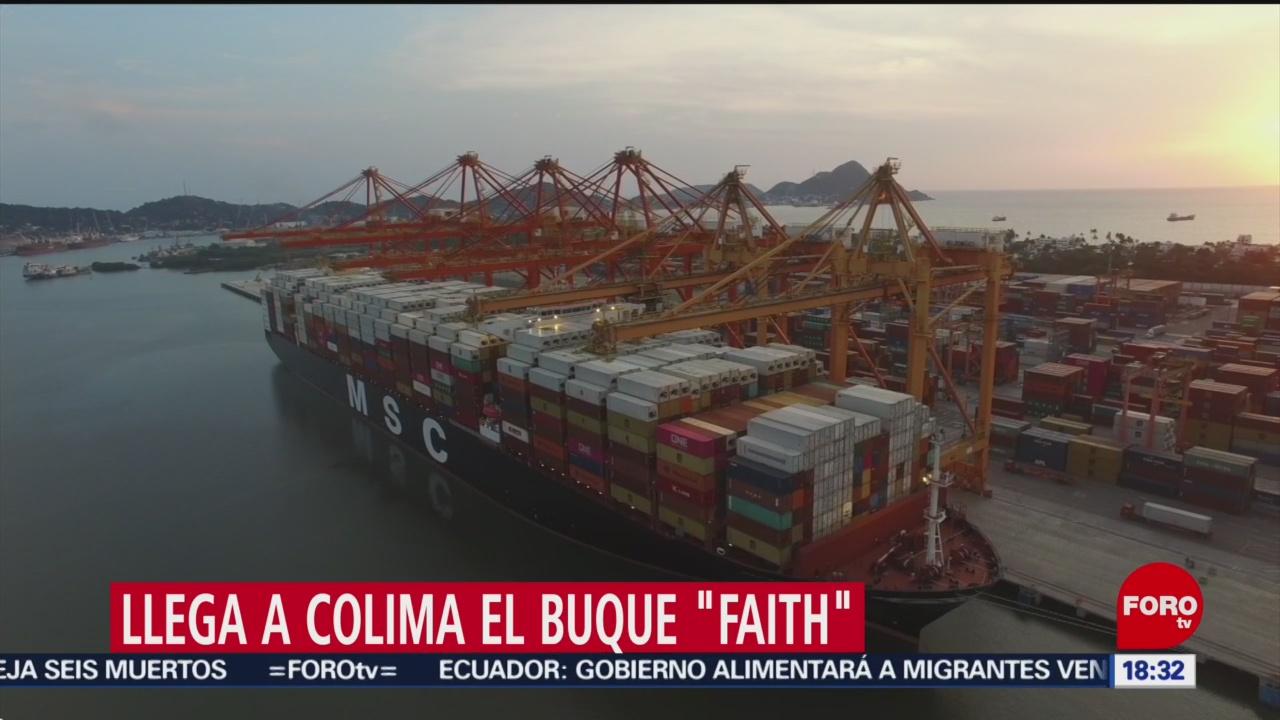 FOTO: Buque carguero más grande mundo llega Colima