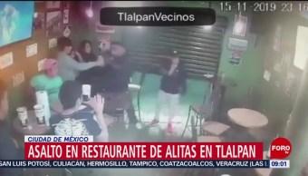 FOTO: Captan asalto a local de alitas en Tlalpan, CDMX, 17 noviembre 2019
