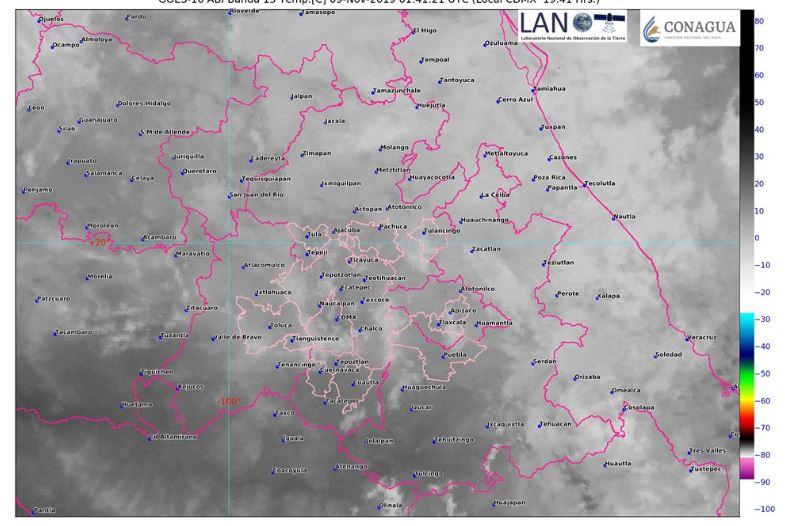 Foto: Imagen de satélite que muestra cielo medio nublado en el centro del país, 9 noviembre 2019