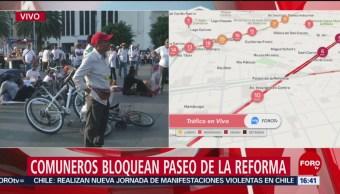 FOTO: Comuneros bloquean Paseo Reforma