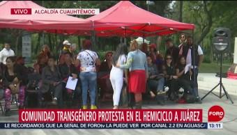 FOTO: Comunidad transgenero protesta Hemiciclo Juárez,