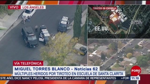 Confirman cinco lesionados por tiroteo en escuela de California