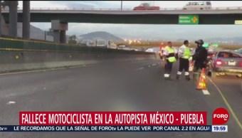 FOTO: Continúa cuerpo de motociclista en autopista México-Puebla, 12 noviembre 2019