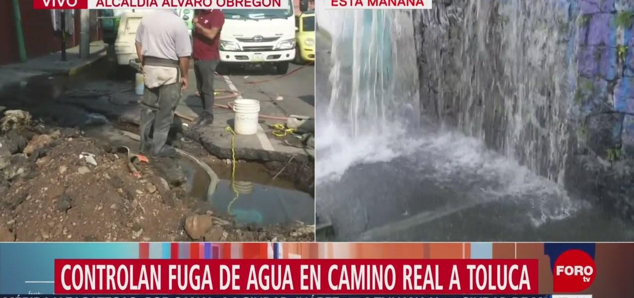 FOTO: Controlan fuga agua Camino Real Toluca