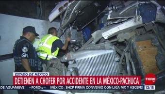 Detienen a segundo chofer del accidente en la México-Pachuca