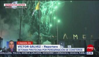 FOTO: Detonan pirotecnia peregrinación coheteros Basílica Guadalupe,