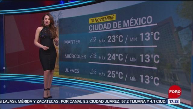 FOTO:El clima con Mayté Carranco del 18 de noviembre de 2019, 18 noviembre 2019
