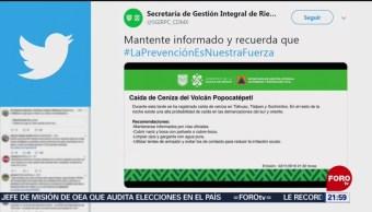 Se registra caída de ceniza del Popocatépetl en tres alcaldías de la CDMX