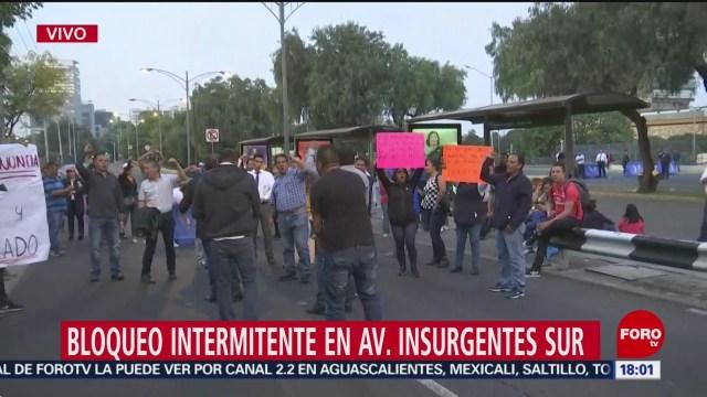 FOTO: Empleados UNAM continúan con bloqueo intermitente Insurgentes Sur