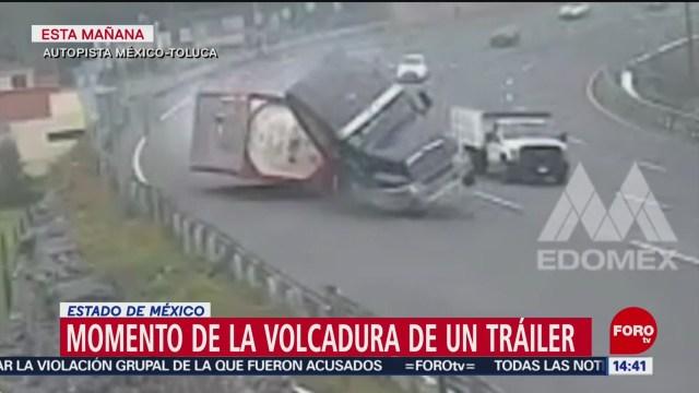 FOTO: Video Volcadura Tráiler autopista México-Toluca
