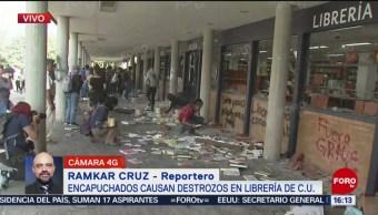 FOTO: Encapuchados destrozan librería CU