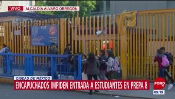 Foto: Estudiantes encapuchados toman Prepa 8 UNAM,