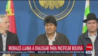 FOTO: Evo Morales pide diálogo para superar las protestas, 9 noviembre 2019