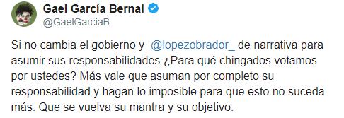 IMAGEN Gael García condena ataque contra familia LeBarón (Twitter)