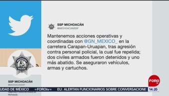 FOTO: Guardia Nacional realiza operativos en la carretera Carapan-Uruapan, 9 noviembre 2019