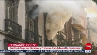 Foto: Incendio ocho horas afecta inmueble centro histórico CDMX