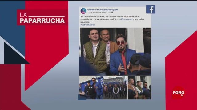 Foto: Iron Man visita policías Guanajuato Noticias Falsas 27 Noviembre 2019