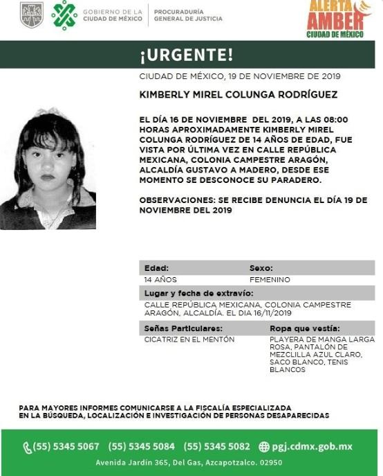 Foto: Activan Alerta Amber para localizar a Kimberly Mirel Colunga Rodríguez, 20 de noviembre de 2019 (Twitter @PGJDF_CDMX)