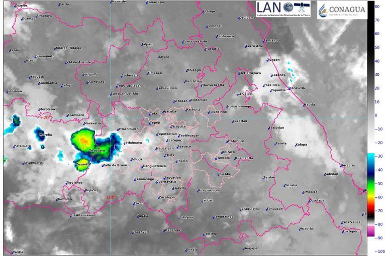 Imagen de satélite muestra cielo nublado en el centro del país., 2 noviembre 2019
