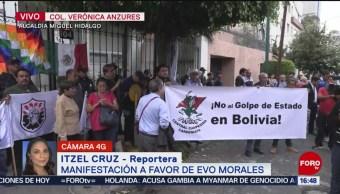 FOTO: Manifestación favor Evo Morales embajada Bolivia CDMX,