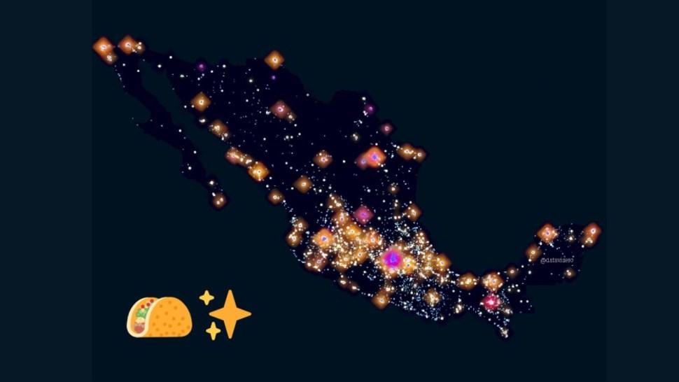 Foto: Mapa de las taquerías en México. Twitter/@datavizero