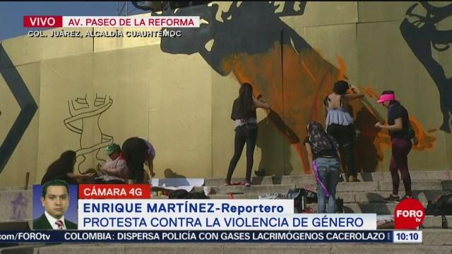 FOTO: Mujeres protestan en el Ángel de la Independencia contra violencia de género, 24 noviembre 2019