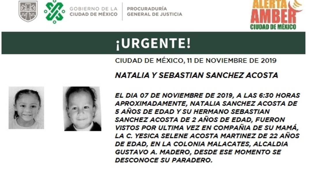 Foto: Activan Alerta Amber, Natalia y Sebastián Sánchez Acosta, 12 de noviembre de 2019 (Twitter @PGJDF_CDMX)