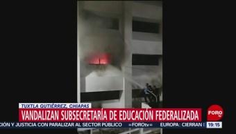 Foto: Normalistas Vandalizan Subsecretaría De Educación Federalizada Chiapas Hoy 20 Noviembre 2019