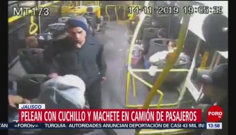 Video Pelea cuchillo machete camión pasajeros Jalisco